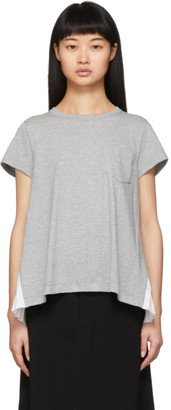 Sacai Grey Pleated Panel T-Shirt