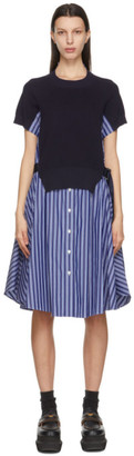 Sacai Navy and Blue Stripe Knit Panel Dress