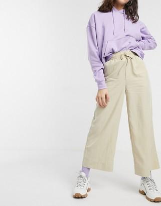 Monki drawstring wide leg trousers in light beige
