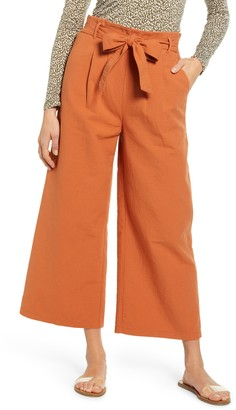 BP Paperbag Waist Double Cloth Crop Wide Leg Pants