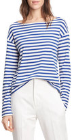 Vince Striped Long Sleeve Boat Neck Tee, VanillaCobalt