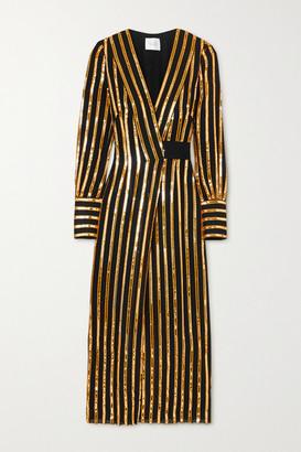 Galvan Pride Sequin-embellished Crepe Wrap Dress - Gold