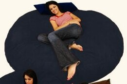 Breton Large Bean Bag Chair & Lounger Bay Isle Home Upholstery Color: Micro Suede - Navy