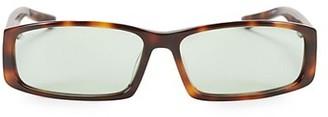 Balenciaga 60MM Tortoise Shell Narrow Rectangular Sunglasses