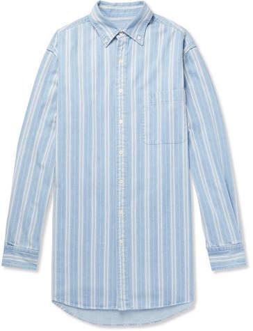 Balenciaga Oversized Button-Down Collar Striped Denim Shirt