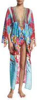 Camilla V-Neck Printed Silk Long Coverup Dress, The Free
