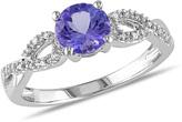 Ice Sofia B 1 CT TW Tanzanite 10K White Gold Ring with Diamond Accents