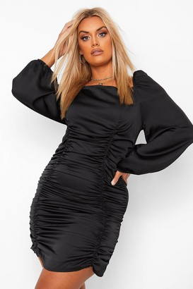 boohoo Plus Satin Ruched Blouson Sleeve Dress