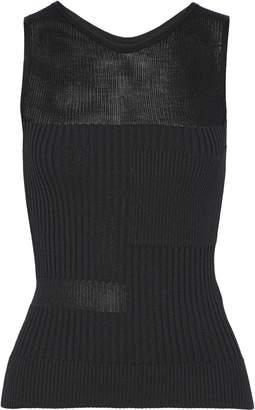 Narciso Rodriguez Paneled Ribbed-knit Tank