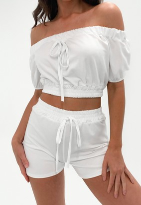 Missguided White Bardot Crop Top And Shorts Co Ord Set