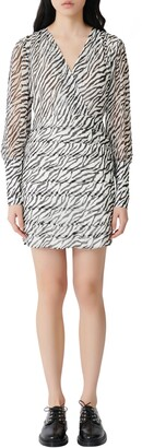 Maje Ribane Zebra Print Long Sleeve Minidress