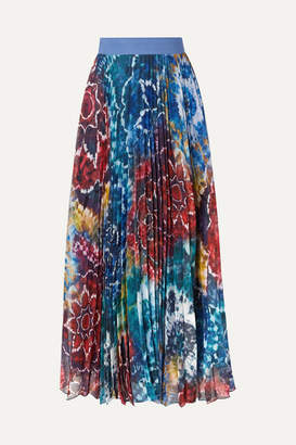 Alice + Olivia Shannon Pleated Printed Chiffon Maxi Skirt - Blue
