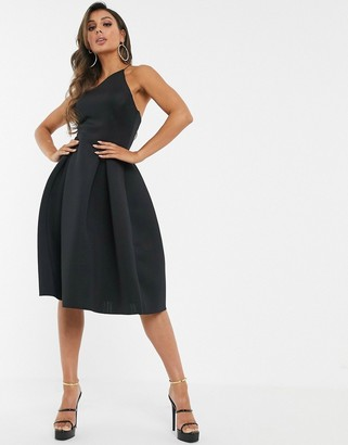 Asos Design DESIGN asymmetric halter neck prom midi dress-Black