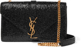 Saint Laurent Monogramme Small Glittered Leather Shoulder Bag - Black