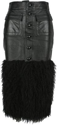 Saint Laurent Leather Pencil Skirt With Faux Fur Detail