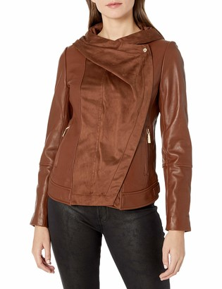 Vince Camuto Women's Asymmetrical Zip Mix Media Leather Jacket