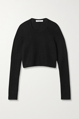 Tibi Open-back Cropped Ribbed Alpaca Sweater - Black
