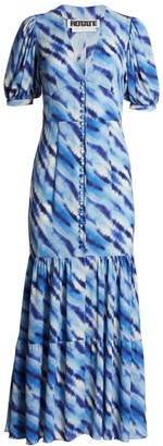 Rotate by Birger Christensen Thora Flounce Hem Maxi Dress