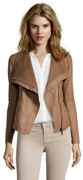 Elie Tahari sand leather 'Andreas' asymmetrical zip jacket