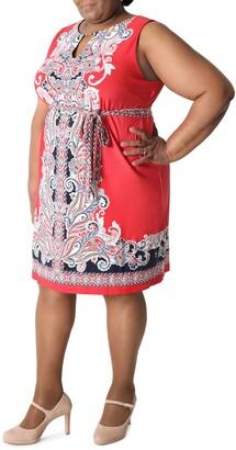 Sandra Darren Paisley Sleeveless Tie Waist Shift Dress