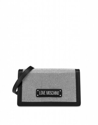 Love Moschino Shoulder Bag With Crystals Woman Silver Size U It - (one Size Us)