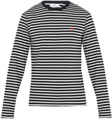 Ami Logo-embroidered striped cotton T-shirt