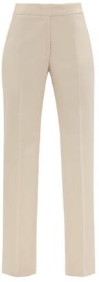 Stella McCartney High-rise Front-pleated Wool-twill Trousers - Womens - Light Beige