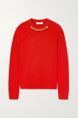 Givenchy - Chain-embellished Ribbed Wool And Cashmere-blend Sweater - Red