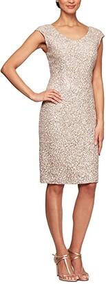 Alex Evenings Short Corded Lace Sheath V-Neck Dress (Champagne/Ivory) Women's Dress