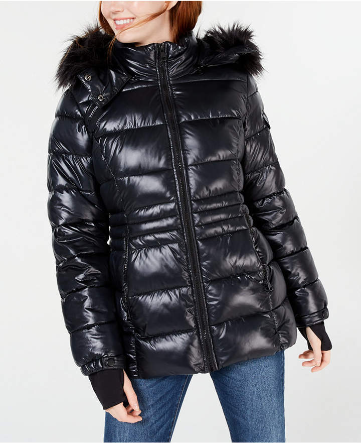 Madden Girl Womens Faux Leather Bomber Jacket