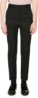Saint Laurent Men's Pinstriped Wool Trousers