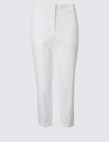 M&S Collection Cotton Rich Slim Leg Cropped Trousers