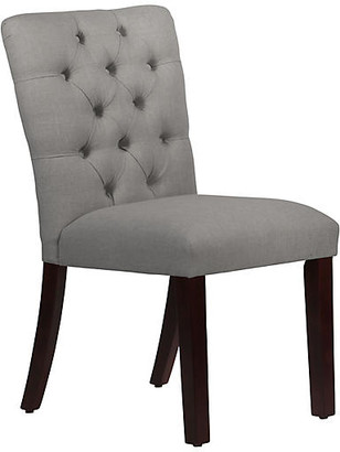 One Kings Lane Kim Tufted Side Chair - Gray - upholstery, gray; legs, espresso