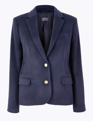 Marks and Spencer Wool Blend Single Breasted Straight Blazer