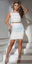 Tony Bowls Scalloped Lace Mock Two Piece Fitted Cocktail Dress