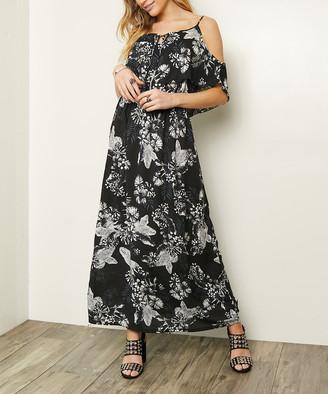 Milly Penzance Women's Maxi Dresses black - Black Floral Cutout Silk-Blend Maxi Dress - Women & Plus