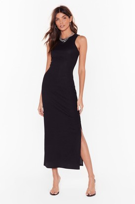 Nasty Gal Womens Racerback You There Slit Midi Dress - black - 4