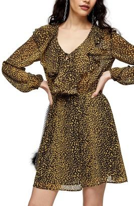 Topshop Animal Print Long Sleeve Ruffle Minidress