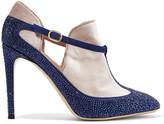 Valentino Velvet-paneled embellished suede pumps