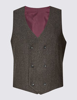 Marks And Spencer Brown Textured Modern Tailored Waistcoat