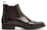 Prada Perforated-detail Leather Chelsea Boots