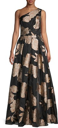 Carmen Marc Valvo Floral Pleated Organza Ball Gown