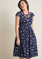 Emily And Fin Unmatched Panache Midi Dress in Airplanes in XL - Cap A-line by from ModCloth