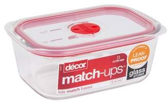 Decor Match-Ups Red Rectangle Glass Reaseal Food Storage Container