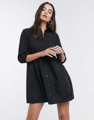 Asos Design DESIGN cotton mini smock shirt dress-Black