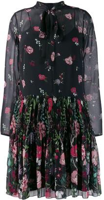 RED Valentino Floral Pleated Mini Dress