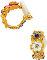 Kenneth Jay Lane Women's Flower Hoop Clip Earrings