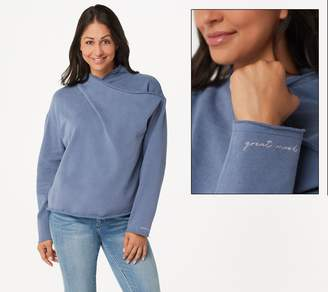 Peace Love World Cross-Over Drape-Neck Sweatshirt
