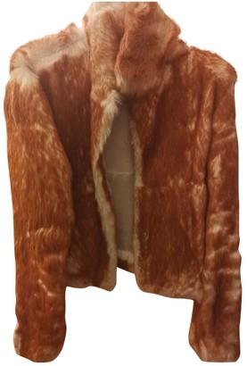 Patrizia Pepe Camel Rabbit Leather Jacket for Women