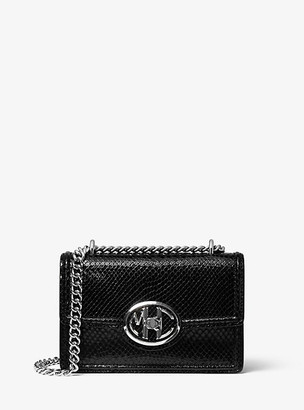 Michael Kors Monogramme Mini Python Embossed Leather Chain Shoulder Bag - Black